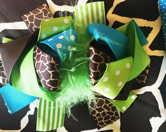 """Giraffe Feather Green Turquoise Blue polka dots Big Hair Bow Grossgrain Loopy Boutique Handmade girls 5"""" 24M 2T 3 t 4 t 5 6 7 8 10 12"""