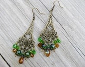 Green bohemian earrings, Bohemian Gypsy Long Antique Gold lace chandelier earrings with green glass and gold crystal