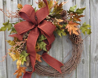 Fall Wreath, Fall / Autumn Wreath -  Fall wreath with touch of Gold, Guilded Fall Wreath, Elegant Designer Harvest Decor, Fall Etsy Wreath