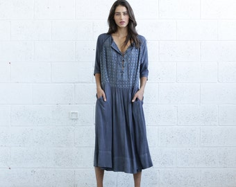 Embroidered Lace Up Dress, Gray.