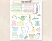 25 Household Chores Cleaning Planner Stickers, Calendar Sticker, Planner Accessories, Erin Condren, Filofax, Project Life