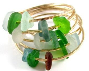 Sea Glass Bangle, Gold Hammered Bracelet, Colorful Hawaiian Beach Glass Bangles, Handmade Maui, Hawaii Beach Jewelry, Ocean Lover Gift Idea