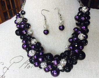 Purple and black pearl necklace,  statement necklace, wedding jewelry