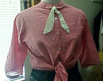Lucy Dale Blouse/ Red and White Checkers/ 1950s original