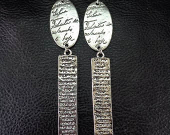 Statement geometric earrings, Our Father Christian prayer text silver tone shoulder duster earrings