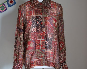 Vintage Button Down Thin Sheer Blouse Top 1970's