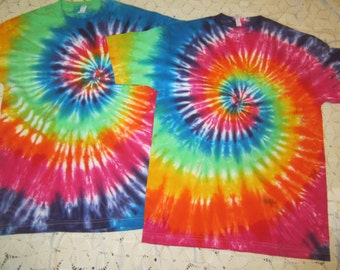 Tie dye shirts, (2) adult mediums, (2) Adult XL, and (1) Adult 6X are ready to ship! Bright classic spiral- hippie!