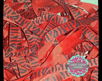 "3/8"" Red Zebra Grosgrain Ribbon Sold in 5 Yard Increments"