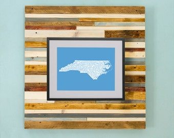 North Carolina County Map - Hand Drawing