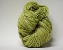 Merino Thick and Thin Yarn Handspun Wool Slub  Hand Dyed tts(tm) Bulky Windflower Green 03