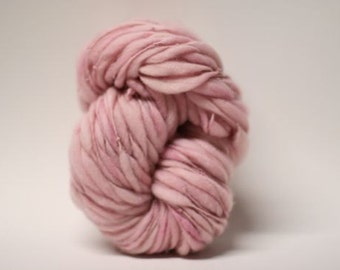 Yarn Handspun Thick and Thin Merino Wool Slub Hand Dyed tts(tm) Merino Bulky Pink Cotton Candy 03