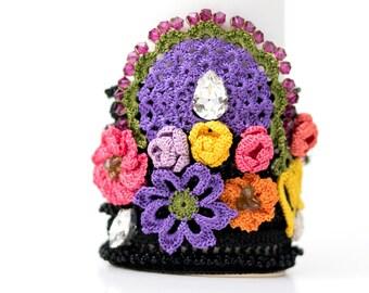 Bracelet-Handmade Crochet Beadwork Luxury Statement Bracelet, Bohemian Style Cuff, Crochet Floral Bracelet, Fiber Art