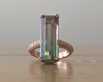 Watermelon Tourmaline Rose Gold Ring with Diamonds - Large Gemstone Ring - Rectangle 8.72 carat Bi-Color Watermelon Tourmaline -BSK Designs