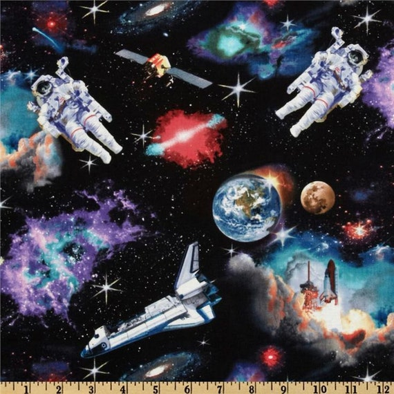 Space flight space shuttle and astronauts 1 cut piece of for Space shuttle quilt