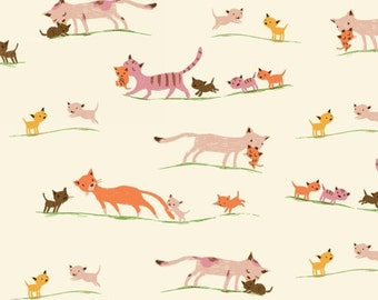 Tiger Lily LAWN Marching Cats in Cream, Heather Ross, Windham Fabrics, 100% Cotton Lawn Fabric, 40935-5