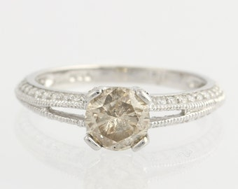 Engagement Ring Champagne Diamond Solitaire w/ Accents - 18k White Gold Unique Engagement Ring F7075 R