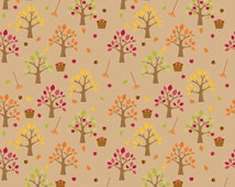 Riley Blake Doddlebug Designs,Brown Happy Harvest Collec Quilt Fabric/C4031, Fall/Autumn Trees Apples, Rakes  Sold in 1/2 Yard Cuts