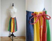 Vintage red, yellow, blue and green polka dotted retro skirt / tie waist polka dot bohemian skirt