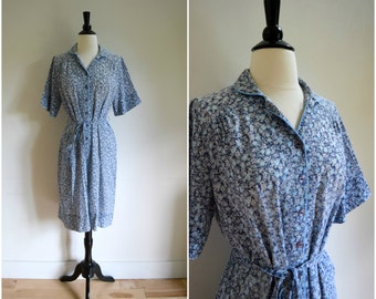 """Vintage """"Nancy Frock"""" blue floral thin cotton day dress / short sleeved collared dress with tie belt waist"""