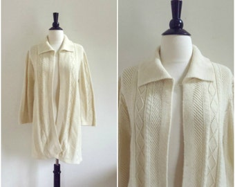 Vintage long oversized white knit cardigan / white cable knit sweater