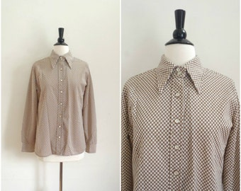 Vintage brown and white checkered blouse / button up retro shirt / collared blouse
