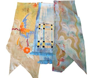 3 Vintage Scarf Art Scarf  Scarf Long Ladies Scarves Abstract   D29