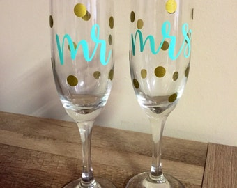 Mr & Mrs Champagne Flutes / Glasses - Mint with Gold Dots - Pair