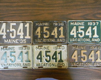 LICENSE PLATES, (6) Years  Antique, 4541, Maine License Plate Collection