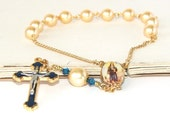 Saint Agatha & Saint Peregrine Chaplet Rosary, Patron Saints of Cancer, Gold Pearls