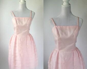 Vintage 1950s Dress, 1950 Pink Chiffon Dress, Retro 50s Dress, Pink Bridesmaid Dress, Retro 50s Prom Dress, Vintage Pink Wedding Dress