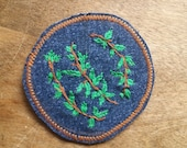 Hand Embroidered Branches and Leaves Collection Patch on Denim, 1970's Inspired Patch, Hand Stitched, Ready To Ship