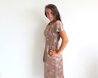 Vintage 60s Satin Dress with Coat, Taupe Satin Dress and Matching Coat, Vintage Evening Coat and Dress, Tailored in Hong Kong, Satin Dress