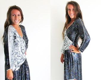 Vintage Sequin Dress, 1980s Evening Dress, Black and Silver Beaded Dress