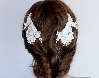Bridal Decorative Comb, Lace Headpiece, Hair Fascinator, Beady Lace Flower Head Piece Comb Lace Hair Brooch Unique Design
