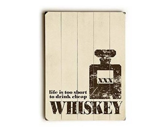 Good Whiskey Wood Typography Art Sign - Planked Wood Typography Bar Decor Man Cave Art Sign Good Whiskey Cheap Typopgraphic Art