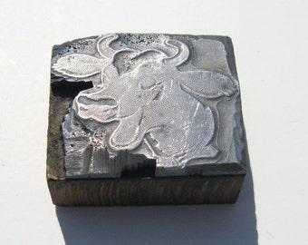 Vintage Print Block: Steel on Wood Laughing Cow Letterpress Print Block, Happy Cow