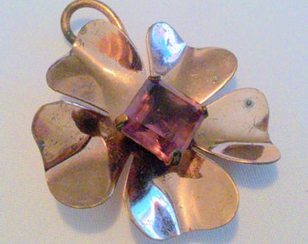 Vintage Copper Tone Purple Rhinestone Flower Brooch