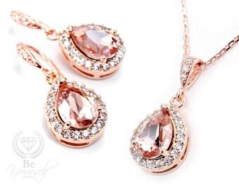 Soft Pink Bridal Earrings Blush Bride Necklace Rose Gold Wedding Jewelry Swarovski Crystal Vintage Rose Teardrop Earrings CZ Bridesmaid Gift