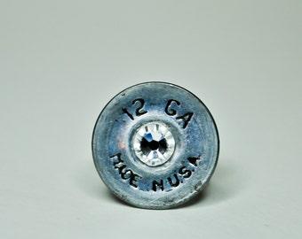 12 Gauge Shotgun Shell Ring - Black Lettering Nickel on Aged Silver