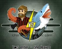 Vault Fight-  funny lumberjack/shark illustration - 5x5 inch print
