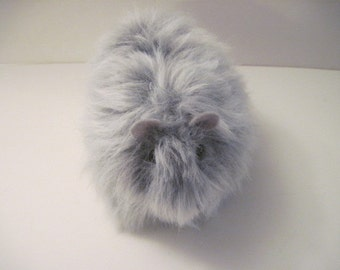 Gray Long Haired Guinea Pig Handmade Plush Toy
