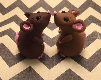 Little Brown Mice Sculptures - Polymer Clay Sculpture - Cake Topper keepsake - Art by Sarah Price