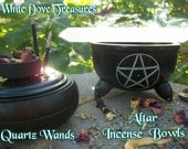 "INCENSE BURNER - 9"" Rose Quartz Wand Clear Quartz Wand Black Pentacle CAULDRON Altar Herbal Spell Bowl Charcoal Disc Wicca Witchcraft Ritual"