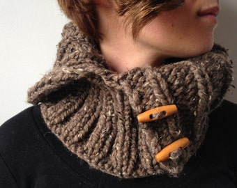 PATTERN for Unisex Chunky Knit Ribbed Cowl in Plain English