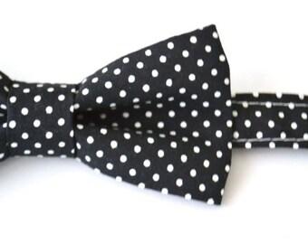 Mens Bowtie- Black Pin Dot