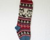 Knitted Fox Christmas Stocking Holiday Xmas Christmas Stocking Fair Isle (Ready to Ship) LRR
