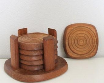 Mid Century Teak Coasters Set with Caddy - Set of 6 Teak Coasters - Danish Modern Teak Coasters - Vintage Teak Wood Coasters