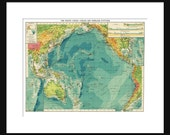 Pacific Ocean Map - Print Poster - Full Color Map