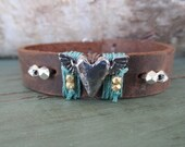 Winged heart leather bracelet - Feelin' Free - gold vermeil artisan pewter sterling silver stack bracelet boho by slashKnots