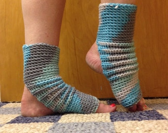 Yoga Socks in Icelandic Blue and Silver Grey -- for Dance, Yoga, Pedicures, Pilates. Inspired by Frozen and Elsa